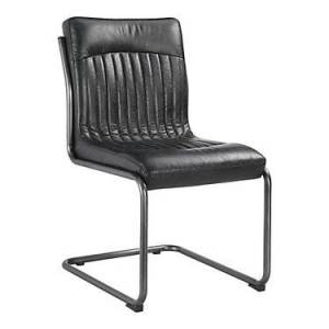 Moe's Ansel Dining Chair, Set of 2 by Moe's - Black - Leather