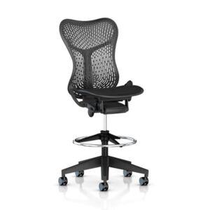 "Herman Miller Authentic Herman Miller Mirra 2 Stool, TriFlex Back Office Chair - 55.25"" h x 30"" w x 18.5"" d - MRFTSTOOL-G1-G1-1A703-AW-BK-N2-FP-752-SC8"