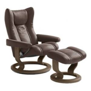 "Ekornes Stressless Wing Reclining Chair Large with Classic Base - Mahogany - 40.25"" h x 33"" w x 30"" d - Wood/Steel/Leather"