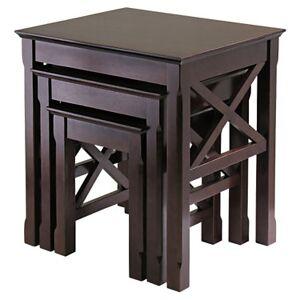 "Winsome Xena 3-Piece Nesting Table - 22.13"" h x 21"" w x 17.32"" d - Winsome - WW40333-CAPPUCCINO"