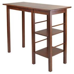 """Winsome Carrie Breakfast Table with 2 Side Shelves - Walnut - 36.2"""" h x 45"""" w x 19.7"""" d - Wood - Winsome"""