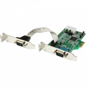 StarTech.com 2 Port Low Profile PCI Express Serial Card - 16550 - 2 x 9-pin DB-9 Male RS-232 Serial PCI Express - RoHS, TAA Compliance