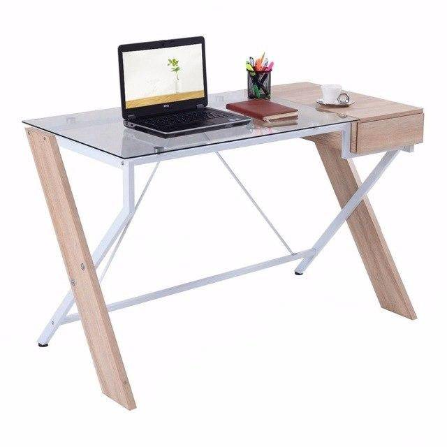 Silver Molly Computer Desk Laptop Table Glass Top Wood