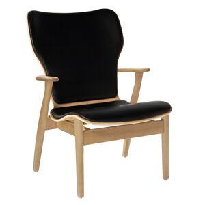 Artek Domus lounge chair, lacquered birch - black leather