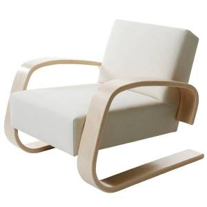 "Artek Aalto armchair 400 ""Tank"", off-white"