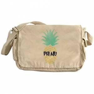 CafePress Phi Mu Pineapple Messenger Bag