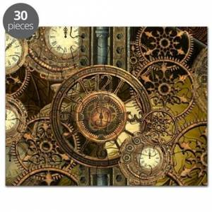 CafePress Steampunk, awessome clocks with gears Puzzle
