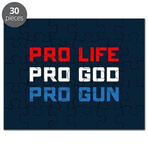 CafePress Pro Life, God, Gun Puzzle