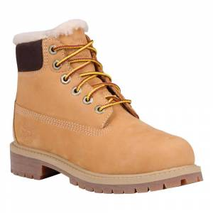 Timberland 6 In Premium Waterproof Shearling Lined Boot Youth; male,  size: EU 33, Brown