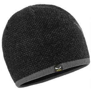 Salewa Ortles Beanie One Size Black Out / Magnet; male,