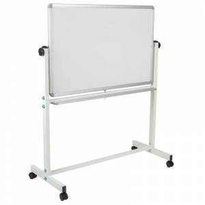 Flash Furniture Hercules 55 x 45 Double Sided Mobile Whiteboard in White