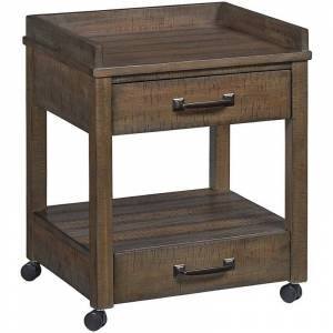 Bowery Hill 2 Drawer Mobile Printer Stand in Rustic Gray