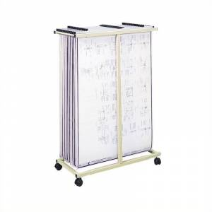 Pemberly Row Mobile Vertical Metal File Stand in Tropic Sand