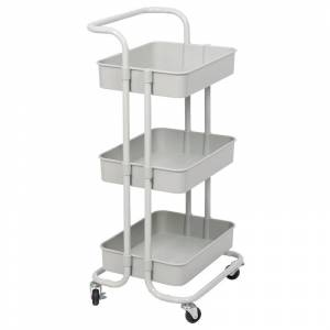 Pemberly Row 3 Tier Mobile Storage Caddy in Silver Gray