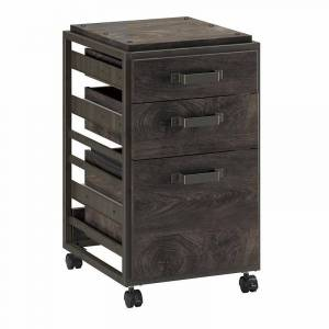 Bush Refinery 3 Drawer Mobile File Cabinet in Dark Gray Hickory - Engineered Wood