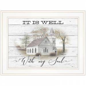 Trendy Decor4U It Is Well By Billy Jacobs Printed Framed Wall Art Wood Multi-Color
