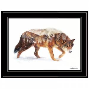 Trendy Decor4U Arctic Wolf by Andreas Lie Printed Framed Wall Art Wood Multi-Color