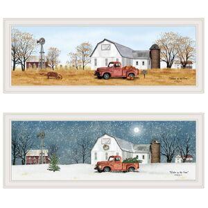 Trendy Decor4U Billy Jacobs SeasonalAutumnWinter 2-Piece Vignette Wood Multi-Color