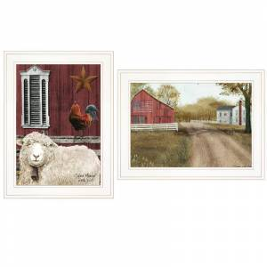Trendy Decor4U Good Morning 2-Piece Vignette by Billy Jacobs Printed Art Wood Multi-Color
