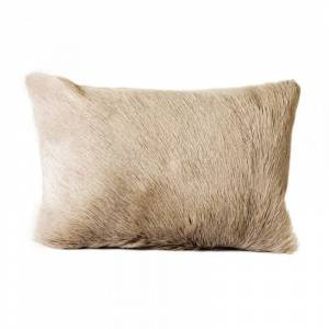 Moe's Home Collection Moe's Bolster Goat Fur Pillow in Light Gray