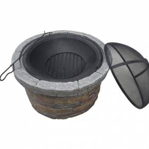 Teamson Design Peaktop Round Stone Fire Pit with Cover