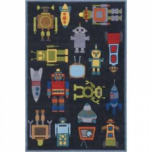 Momeni Lil Mo Whimsy 5' X 7' Contemporary Hand Tufted Rug in Steel Blue