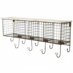 Linon Four Cubby Metal Wall Shelf in White