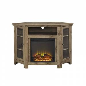 Walker Edison 48 Corner Fireplace TV Stand in Barnwood