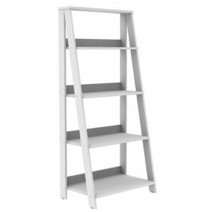 Walker Edison 4 Shelf Transitional Wood Ladder Bookcase in White
