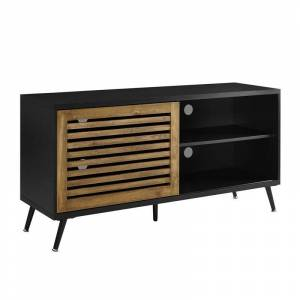 Walker Edison 52 TV Console with Sliding Door - Black and Barnwood