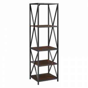 Walker Edison Metal X Media Tower Bookcase with Wood Shelves -Dark Walnut