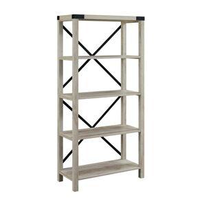 Walker Edison 64 Farmhouse Metal X Bookcase - White Oak