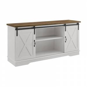 Walker Edison 58 Farmhouse Wood TV Stand w/ Solid White with Reclaimed Barnwood Top