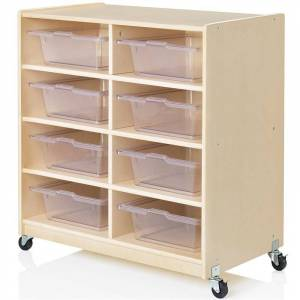 Guidecraft 8 Cubby Mobile Storage Bin Unit in Natural