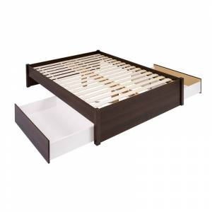 Prepac Select Queen 4-Post Platform Bed with 2 Drawers in Espresso