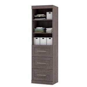 Bestar Pur 25 Storage Unit with 3-Drawer Set in Bark Gray