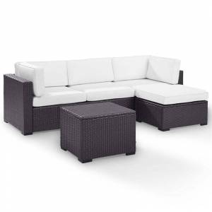 Crosley Furniture Crosley Biscayne 4 Piece Wicker Patio Sectional Set in Brown and White
