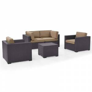 Crosley Furniture Crosley Biscayne 5 Piece Wicker Patio Sofa Set in Brown and Mocha