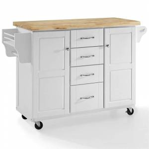 Crosley Furniture Crosley Elliott Natural Wood Top Kitchen Cart in White
