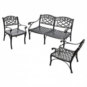 Crosley Furniture Crosley Sedona 3 Piece Aluminum Patio Sofa Set in Black