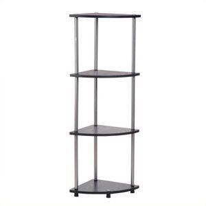 Convenience Concepts Designs2Go 4-Tier Corner Shelf in Black Wood Finish