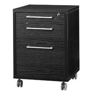 Tvilum Pierce 3 Drawer Wood Mobile File Cabinet in Black Wood Grain