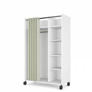 Tvilum Lola 4 Cubby Mobile Curtain Storage Unit in White and Natural