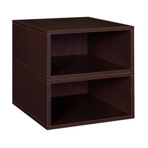 Regency Niche Cubo Storage Set- 2 Half Size Wooden Cubes in Truffle/Espresso