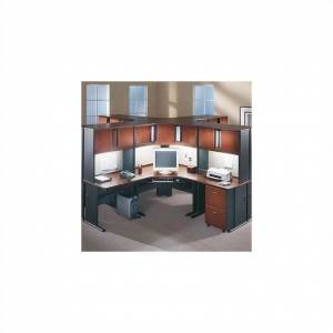 BBF Bush Business Furniture Series A Hansen Cherry Corner Cubicle Set