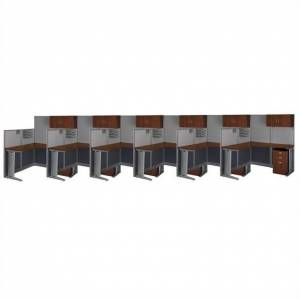 BBF Bush Business Furniture Office-in-an-Hour Hansen Cherry Cubicles for 6