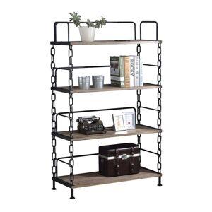 ACME Furniture Jodie 4 Shelf Bookcase in Rustic Oak and Antique Black