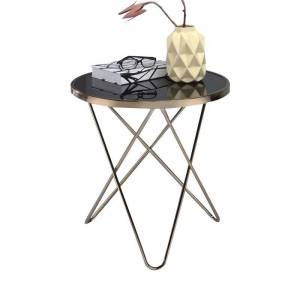 ACME Furniture ACME Valora End Table in Black Glass and Champagne
