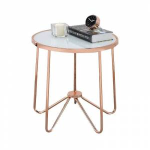 ACME Furniture ACME Alivia End Table in Frosted Glass and Rose Gold