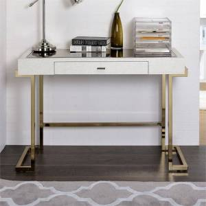 ACME Furniture ACME Boice Home Office Desk in White PU and Champagne